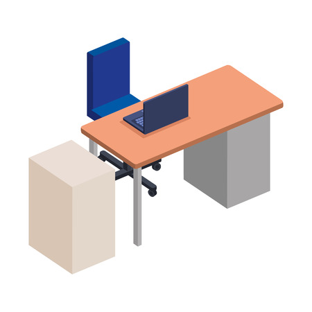 office desk with laptop and drawer vector illustration design Archivio Fotografico - 126772887