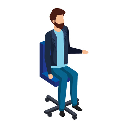 elegant businessman sitting in office chair vector illustration design Ilustração