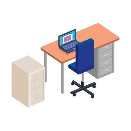 office desk with laptop and drawer vector illustration design Illusztráció