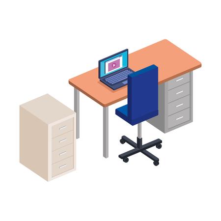 scrivania da ufficio con design di illustrazione vettoriale di laptop e cassetto Vettoriali