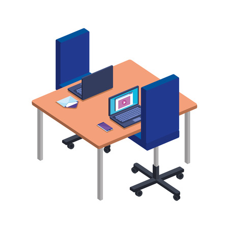 office desk with laptop and chair vector illustration design