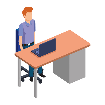 young man in the desk and laptop vector illustration design Stock Illustratie