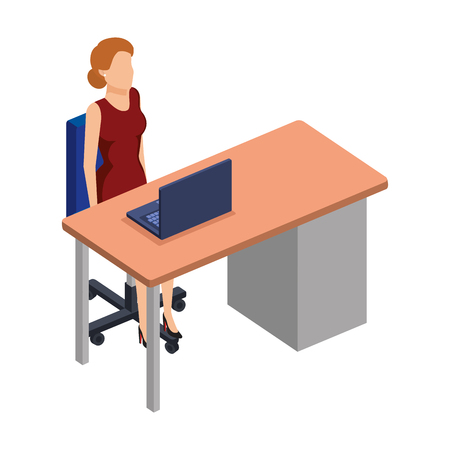 woman in the desk with laptop character vector illustration design