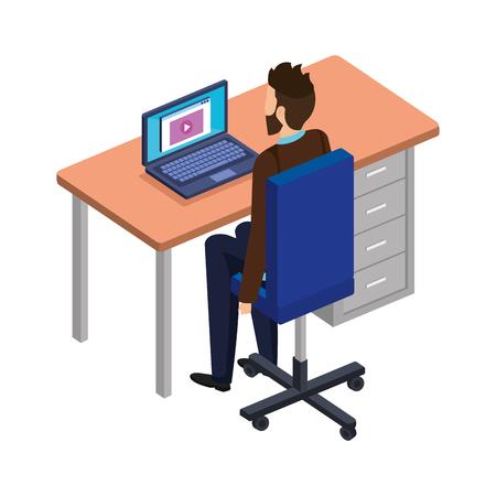 young man in the desk and laptop vector illustration design Archivio Fotografico - 113893595