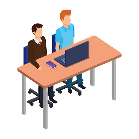 couple of men in the desk and laptop vector illustration design