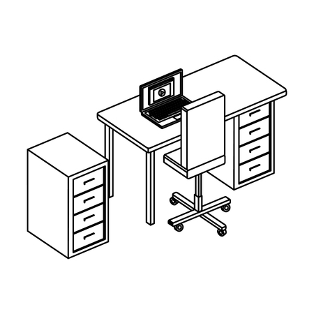 office desk with laptop and drawer vector illustration design Archivio Fotografico - 113893724