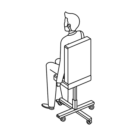 young man in the office chair character vector illustration design Foto de archivo - 126772959