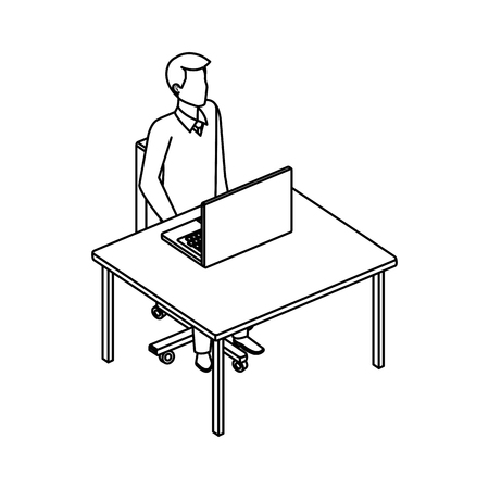 young man in the desk and laptop vector illustration design Illustration