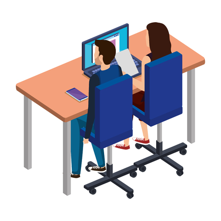business couple in the desk with laptop vector illustration design Ilustração