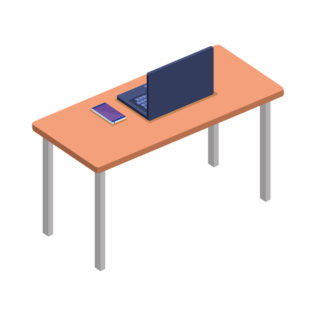 office desk with laptop vector illustration design Ilustração