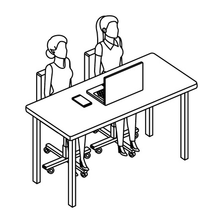 couple businesswomen in desk and laptop vector illustration design Ilustração