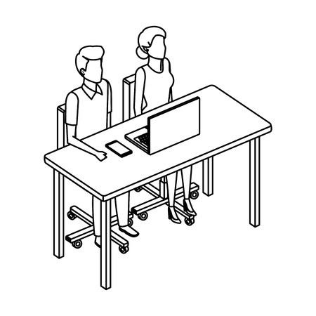business couple in the desk with laptop vector illustration design Illustration