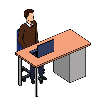young and casual man in the workplace vector illustration design