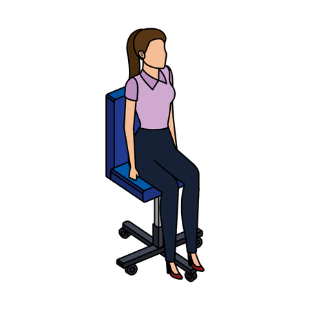young woman in the office chair vector illustration design