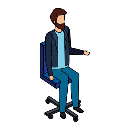 young man in the office chair character vector illustration design Vectores