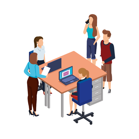 business people in the desk with laptop vector illustration design Archivio Fotografico - 113894592