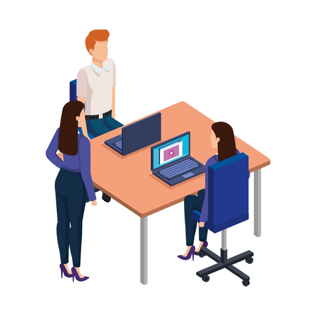 business people in the desk with laptop vector illustration design