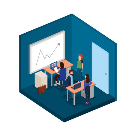 group of business people in the office vector illustration design