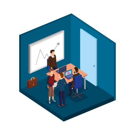 groep mannen in het kantoor avatars vector illustratie ontwerp