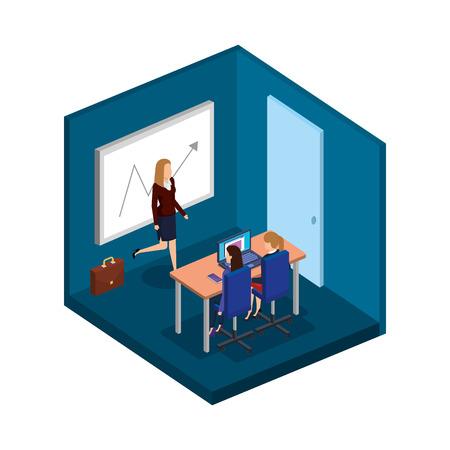 group of businesswomen in the office vector illustration design