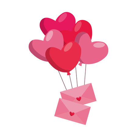 Heart shaped party balloons with envelopes vector illustration design Stock Illustratie