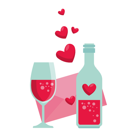 bottle with heart and envelope vector illustration design