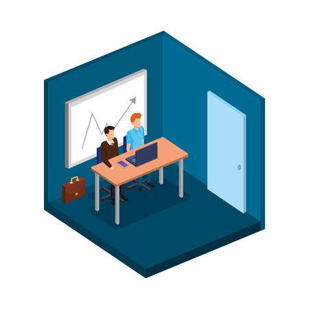 couple of men in the office avatars characters vector illustration design Illustration