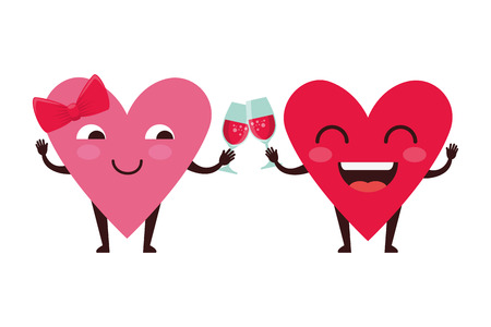 hearts love couple with wine cups kawaii characters vector illustration