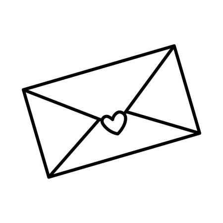 busta con cuore icona illustrazione vettoriale design Vettoriali