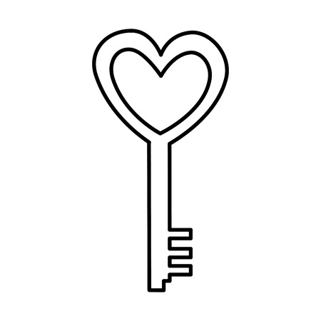antique key with heart love vector illustration design