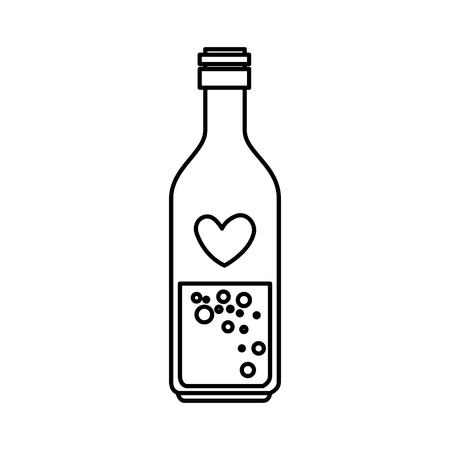 bottle with heart icon vector illustration design