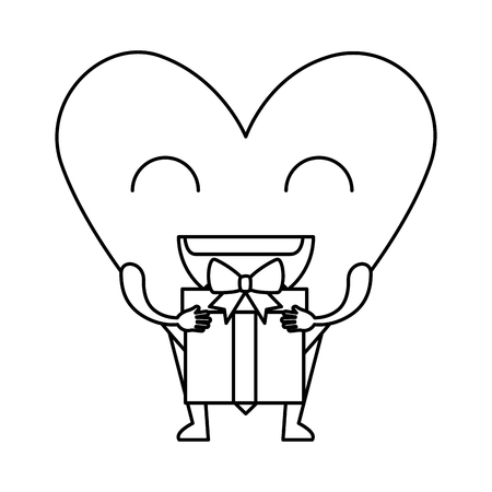 heart love with gift kawaii character vector illustration design