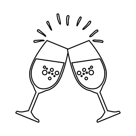 wine cups toast icon vector illustration design