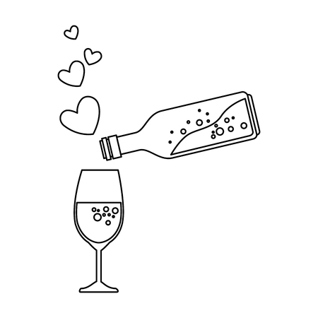 bottle and cup with hearts vector illustration design