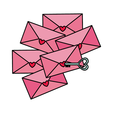 envelopes with hearts and key vector illustration design