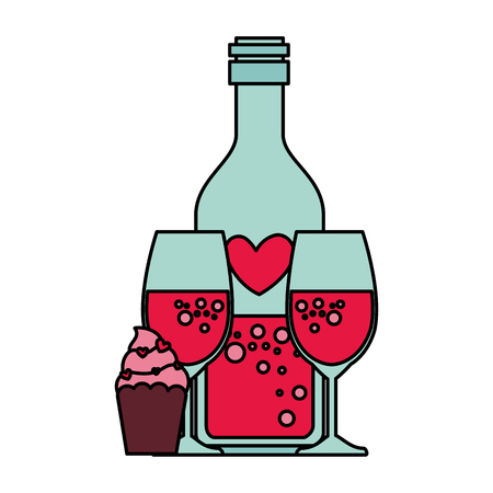 heart bottle and cups with cupcake vector illustration design