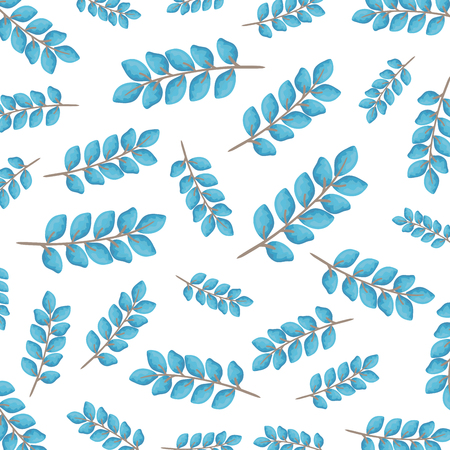 branch with leafs pattern vector illustration design