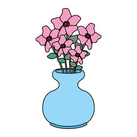 Vase mit Blumen-Symbol-Vektor-Illustration-Design