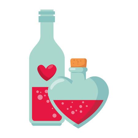 bottle with heart shape vector illustration design