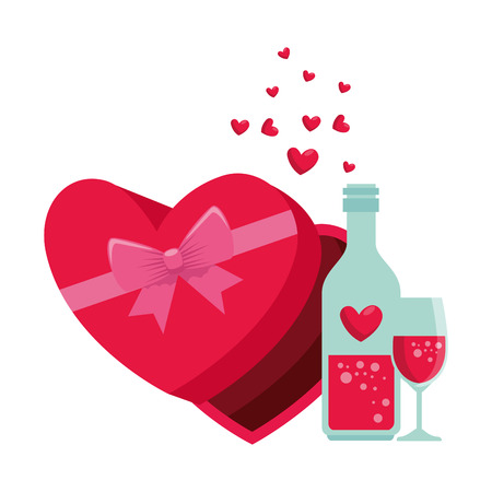 giftbox with heart shape and wine drink vector illustration design Reklamní fotografie - 113896473