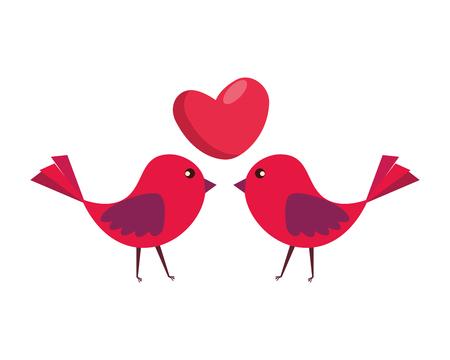 Pareja de pájaros con corazón amor, diseño de ilustraciones vectoriales Ilustración de vector