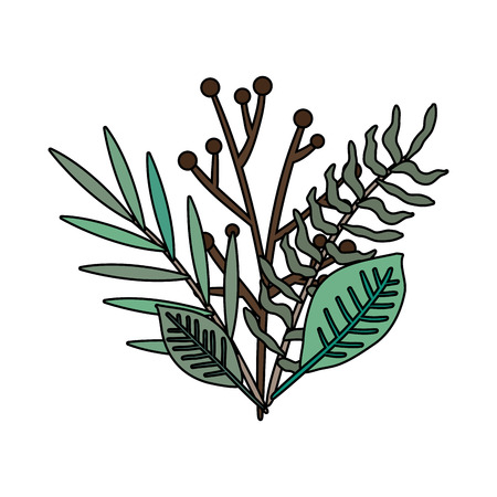 branch with leafs floral decoration vector illustration design