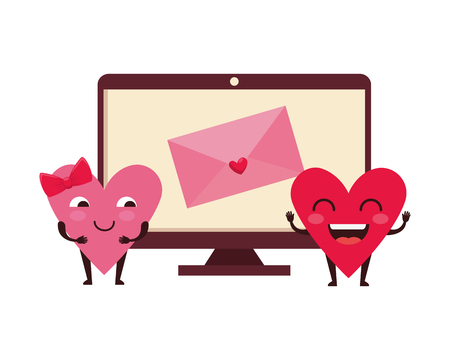 envelope in computer with hearts couple kawaii vector illustration design