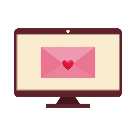 envelope with heart in computer vector illustration design