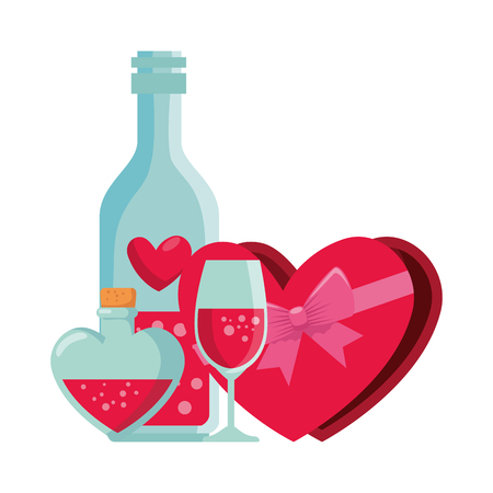 giftbox with heart shape and wine drink vector illustration design Illustration