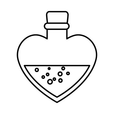 Botella con forma de corazón, diseño de ilustraciones vectoriales