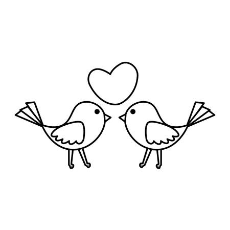 uccelli coppia con cuore amore illustrazione vettoriale design Vettoriali