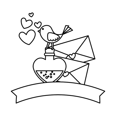envelopes with bird and bottle vector illustration design