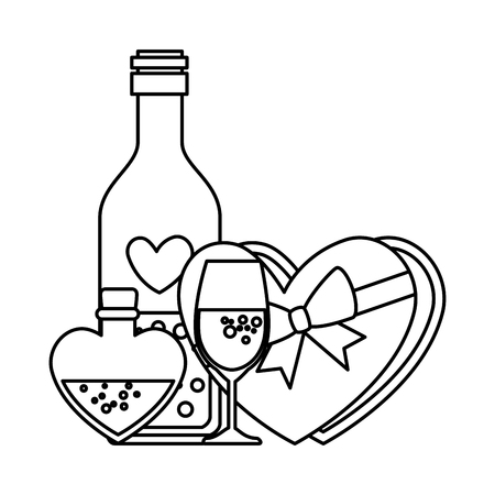 giftbox with heart shape and wine drink vector illustration design Illusztráció