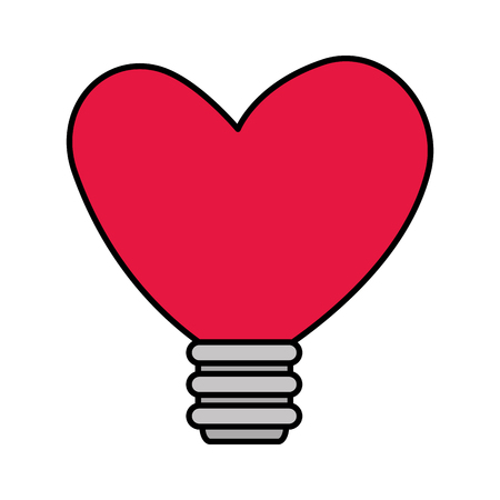 bulb with heart shape vector illustration design